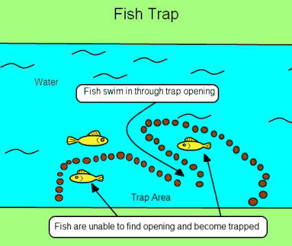 This guy shows how to make a native american fish corral for How to make a fish trap for big fish